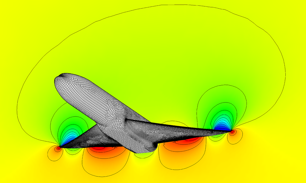A quad-dominant surface mesh and hex-core volume generated using Pointwise. Solution computed using Flow360 CFD.